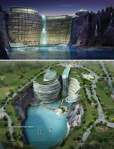 Waterworld Hotel, China – an amazing aquatic themed hotel  Atkin's Architecture Group won first prize for an international design competition with this stunning entry. Set in a spectacular water filled quarry in Songjiang , China , the 400 bed resort hotel is uniquely constructed within the natural elements of the quarry. Underwater public areas and guest rooms add to the uniqueness, but the resort also boasts cafes, restaurants and sporting facilities.