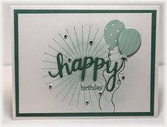 SU Kinda Eclectic, 'happy' is a die cut from Hero Arts and balloons are a Martha Stewart punch.    Colors are white, lagoon and soft sky.