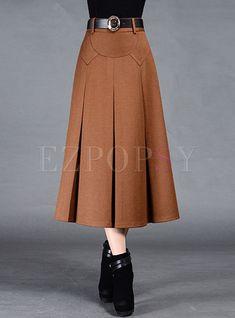 Brief Pleat Pure Color Skirt - Fashion Outfits Skirt Outfits, Dress Skirt, Pleated Skirt, Chiffon Skirt, Ropa Interior Boxers, Hijab Fashion, Fashion Dresses, Fashion Tips, Winter Skirt