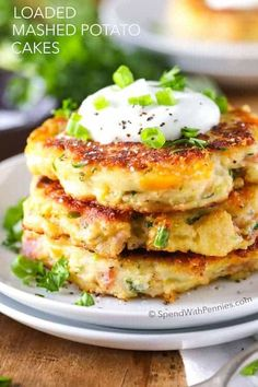 Sweet Potato Pancakes Made With Leftover Mashed Sweet . Leftover Loaded Mashed Potato Pancakes > Call Me PMc. This Recipe For Loaded Mashed Potato Cakes Is The Perfect . Home and Family Loaded Mashed Potatoes, Mashed Potato Recipes, Potato Dishes, Food Dishes, Loaded Potato, Leftover Mashed Potato Pancakes, Cheesy Potatoes, Baked Potatoes, Potatoe Cakes Recipe