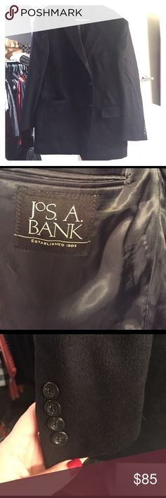Jos A Bank 💯 cashmere 46R Blazer Great mens blazer in excellent condition.  Replacement buttons on package included. 100 percent cashmere.  46R color Black Jos A Bank Suits & Blazers Sport Coats & Blazers