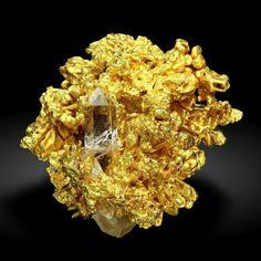 Clear Quartz on Native Gold, California