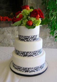3 Tier red black and white Wedding Cake
