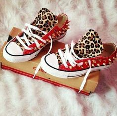red sneakers with lepoard print | shoes all star red shoes leopard print leopard red studs spikes black ...