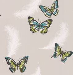 Butterflies Grey & Green wallpaper by Albany