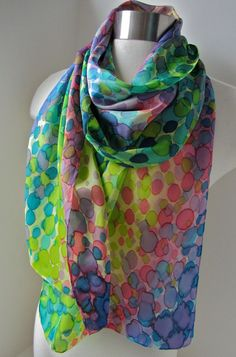 Silk scarf, hand painted in spring colors, polka dots