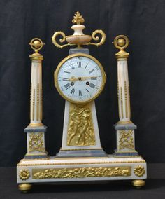 19thC FRENCH EMPIRE MANTLE CLOCK WITH DORE BRONZE : Lot 62