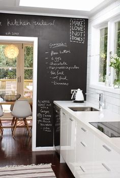 Galley Kitchen By Nicola Blackmore Love The U0027make Love Not Dishes!u0027 I Need  A Blackboard Wall Somewhere In My House To Write Down All Of The Different  Quotes ...