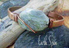Labradorite gemstone wirewrapped copper Cuff with modern rustic style is stackable too by deborahmcgovern, $18.00