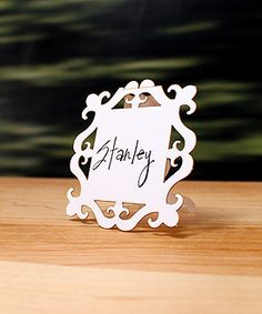 Laser Expressions Square Baroque Frame Folded Place Card