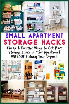 Small Apartment / Storage Hacks / Cheap & Creative Ways to Get More Storage Spac. Small Apartment / Storage Hacks / Cheap & Creative Ways to Get More Storage Space In Your Apartment WITHOUT Risking Your Deposit Small Apartment Hacks, Small Apartment Organization, Small Apartment Living, Organization Ideas, Organizing Small Apartments, Bathroom Organization, Clothing Organization, Clothing Racks, Small Living