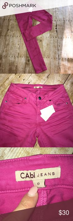 """Cabi Pink Marbled Skinny Jeans NWT Cabi Pink Marbled Skinny Jeans. Cabi style #397. Super fun pink jeans with slightly marbled look. Five pocket styling. Measures approximately 12"""" across at waistband, 30"""" inseam. Size 0. From a smoke free home. CAbi Jeans Skinny"""