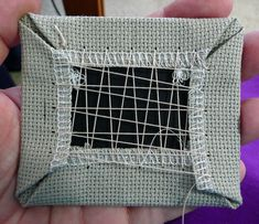"""Really detailed tutorial on """"lacing"""" the back of cross stitched ornaments. Such a clean look."""