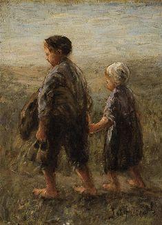 **Jozef Israels 1824-1911 (Dutch) Returning from the beach o