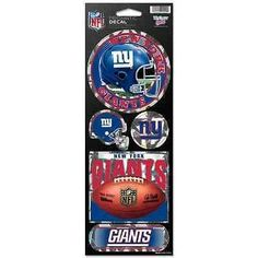 "NEW YORK GIANTS OFFICIAL 10.5"" X 4"" PRISMATIC DECAL SET NEW SHIPPING"