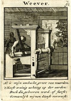 Plate 92: Weaver; standing behind a loom at left; a woman standing outside the workshop at right, looking in through a window. 1695 Engraving