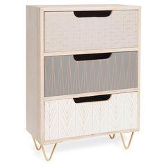 Boîte 3 tiroirs en bois H 35 cm SCOOP