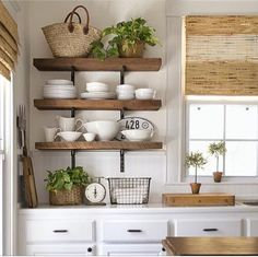 Your Dream Kitchen Must-Haves for Less marble countertops set on an l-shaped counter with pale green top-and-bottom cabinets with white exposed beams on the ceiling for the must-have, money-saving kitchen upgrades gallery New Kitchen, Kitchen Dining, Kitchen Decor, Kitchen Modern, Ranch Kitchen, Long Kitchen, Colonial Kitchen, Kitchen Rustic, Cheap Kitchen