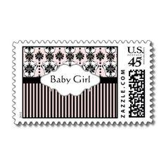 New Baby Girl Postage Stamps Pink Black Damask