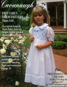 Love the cuff on the sleeves! #68 Jan/Feb 00 - Cavanaugh Shadow Smocked Dress, 3-6