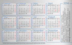 calendar card germany (Taschenkalender Deutschland) 2014 with german holidays [licence CC: BY-ND]