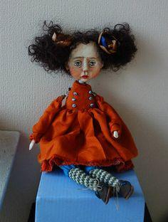 OOAK ART Doll-brooch
