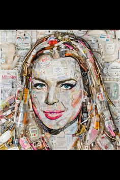 Women's face made out of recycled materials Art Du Collage, Collage Kunst, Junk Art, Lindsay Lohan, Photo Collage Design, Photo Collages, Trash Art, Unusual Art, Celebrity Portraits