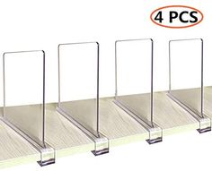 CY craft Acrylic Shelf Dividers for Closets,Wood Shelf Dividers, 4 PCS Clear Shelf Separators,Perfect for Clothes Organizer and Bedroom Kitchen Cabinets Shelf Storage and Organization