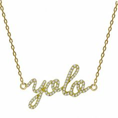 "18K Yellow Gold ""Yolo"" Charm with Diamonds on a 18K Yellow Gold Chain from Khai Khai Jewelry"