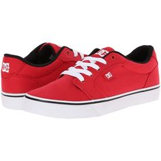 DC Anvil TX Women's Skate Shoes, Red ($36) ❤ liked on Polyvore featuring shoes, red, skate shoes, low profile shoes, slim shoes, dc shoes footwear and low top skate shoes