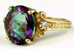 R136, Mystic Fire Topaz, 10k Gold Ring