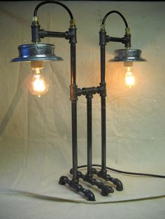Industrial Style Iron Pipe Desk Lamp by GBR720 on Etsy, $365.00