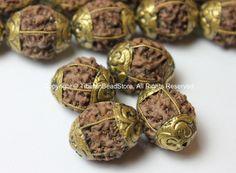 4 BEADS - Natural Rudraksh Nepal Tibetan Beads with Repousse Brass Caps - Ethnic Beads - Rudraksha Rudraksh Seed Beads - B2500-4
