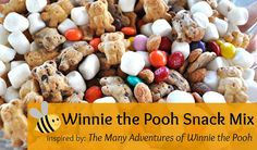 Winnie the Pooh Snack Mix | Honey and Chocolate teddy grahams, mini marshmallows, honey-roasted peanuts, M, and Reese's Pieces. Yummy!!