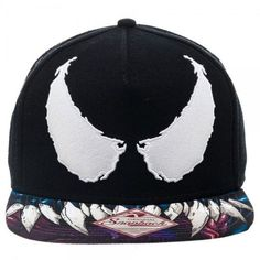 MARVEL COMICS SPIDER-MAN VENOM EYES BLACK SNAPBACK CAP WITH PRINTED VISOR -  Spike Dabomb 6df04c80cc13