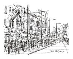 """""""Market Day"""" Camden Town London - Drawing,  22x18  ©2017 by Brian Keating -                                                                                                                                                Illustration, Impressionism, Minimalism, Modernism, Paper, Architecture, Cities, Cityscape, People, Places, camden town drawings, london drawings, camden market drawings, uk cities drawings, camden town art"""