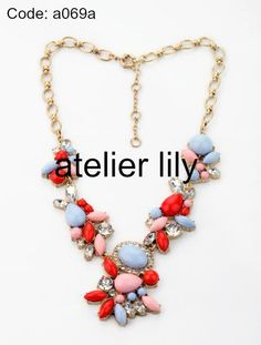 Pink/ purple chunky Necklace choker pastel party short statement necklace by AtelierLily, $29.99 (buy 2 and get 1 free!)