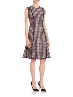 OSCAR DE LA RENTA Sleeveless Tweed Dress. #oscardelarenta #cloth #dress