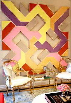 Another great shot of the vintage abstract shaped canvas painting from our inventory in the Derby Deconstructed room by Patrick Hamilton at Holiday House NYC... Tour New York's Dreamy Designer Holiday House via @domainehome