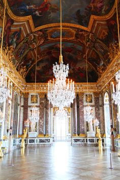 The Hall of Mirrors, or the Grande Galerie as it was called in the 17th century.