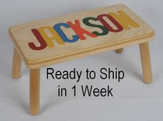 Name Puzzle Step Stool / Bench - Handcrafted Wooden And Custom Personalized…