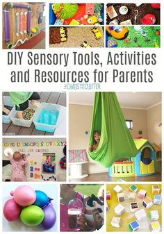 DIY Sensory Tools Activities and Resources for Parents: Sensory tools can be expensive. Get tutorials and tips for easy DIY sensory tools and activities for parents to use at home with their kids. Diy Sensory Board, Sensory Tools, Sensory Diet, Sensory Issues, Baby Sensory, Diy Sensory Toys, Sensory Wall, Sensory Room Autism, Autism Activities