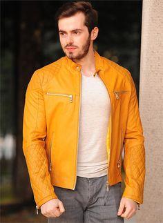 Erkek Deri Mont Sarı| Modelleri ve Uygun Fiyat Avantajıyla | Modabenle