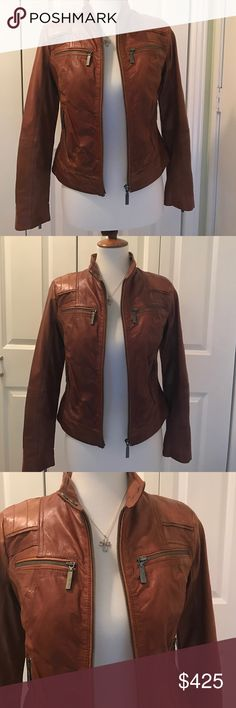 REAL COGNAC LEATHER JACKET Beautiful Bernado Real Leather Jacket with zipper front pockets and sleeves, color Cognac.  It's very stylish and it makes you look curvy!  Wore only couple times!  Bernardo Jackets & Coats