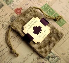 Burlap wedding favor bags  Personalized  Falling in by Pedoozle