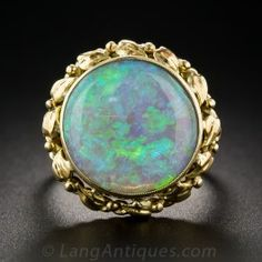 Large Round Opal Ring - Antique & Vintage Gemstone Rings - Vintage Jewelry #opalsaustralia