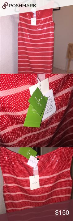 Kate Spade New York Sleeveless Sequence Dress Kate Spade New York sequin sleeveless dress in a size 4. The dress colors are red and pink stripes. The dress is heavy and delicate, and the sequins shift around. It is missing two sequin, or they might have shifted around. Thanks for stopping by and make sure to ask questions before trying to buy. Kate Spade Dresses