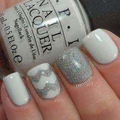 Pretty in white and silver   #nails #nailsdone #nailedit #nailart #white #silver #nailaddict #nailswag #OPI #opi #nailpolish #manicure #pretty #glitter #sparkle