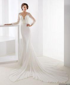 Vestido lace sem alças com mangas compridas chique & moderno de renda cor sólida