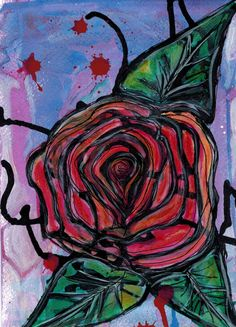 Rose and Thorns Original Abstract Flower Ink Painting by Stella & Ellie, $20.00